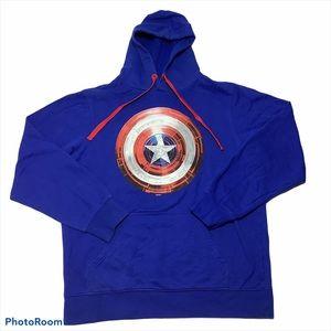 NWOT Marvel Captain America Hoodie Sweater Blue